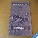 ADMIN. MAPA ČSSR - NÁSTĚNNÁ JIHOMORAVSKÝ KRAJ 72 x 112 cm 1964