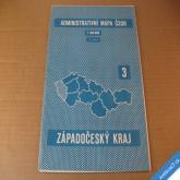 ADMIN. MAPA ČSSR - NÁSTĚNNÁ ZÁPADOČESKÝ KRAJ 72 x 97 cm 1960