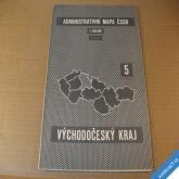 ADMIN. MAPA ČSSR - NÁSTĚNNÁ VÝCHODOČESKÝ KRAJ 75 x 86 cm 1960