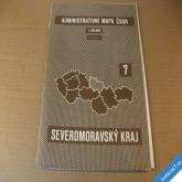 ADMIN. MAPA ČSSR - NÁSTĚNNÁ SEVEROMORAVSKÝ KRAJ 85 x 87 cm 1960