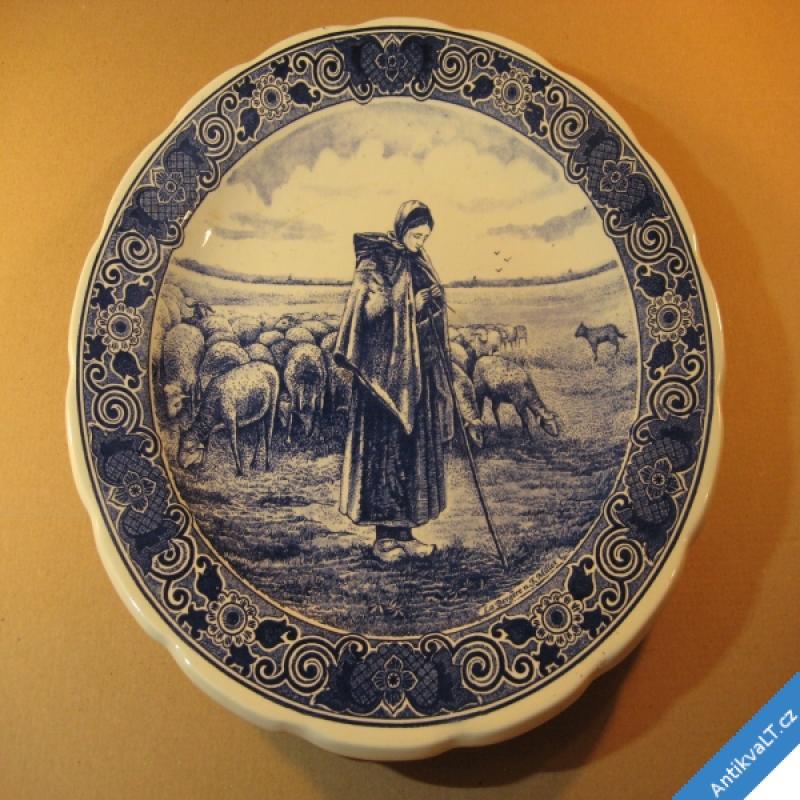 foto HOLANDSKÝ TALÍŘ ZÁVĚSNÝ Delfts 33 cm pastevecký motiv