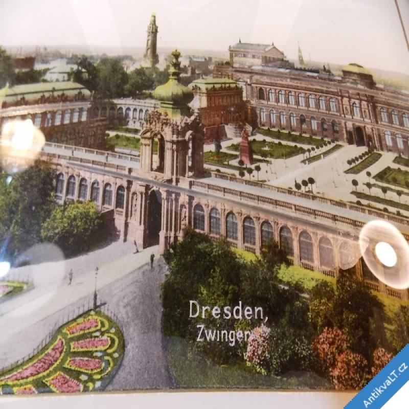 foto SKLENĚNÝ OBRÁZEK kolor. fotogr. DRESDEN - ZWINGER  cca 1895