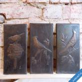 3 x stará kovoplastika měděná, autorská 40. léta téma ptáci, myslivost