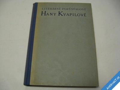 foto    LITERÁRNÍ POZŮSTALOST HANY KVAPILOVÉ  1946 Š a Š